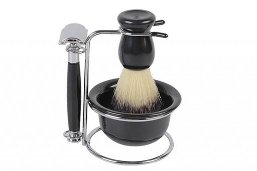 Kit de Barbear Retrô com Pincel, Pires, Barbeador e Suporte Aço Inox