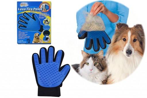 Luva tira Pelos Massageadora Magnética para Gato e Cachorro