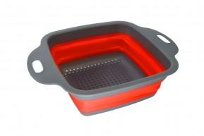 Escorredor Quadrado Pequeno de Alimentos de Silicone Dobrável 18 cm
